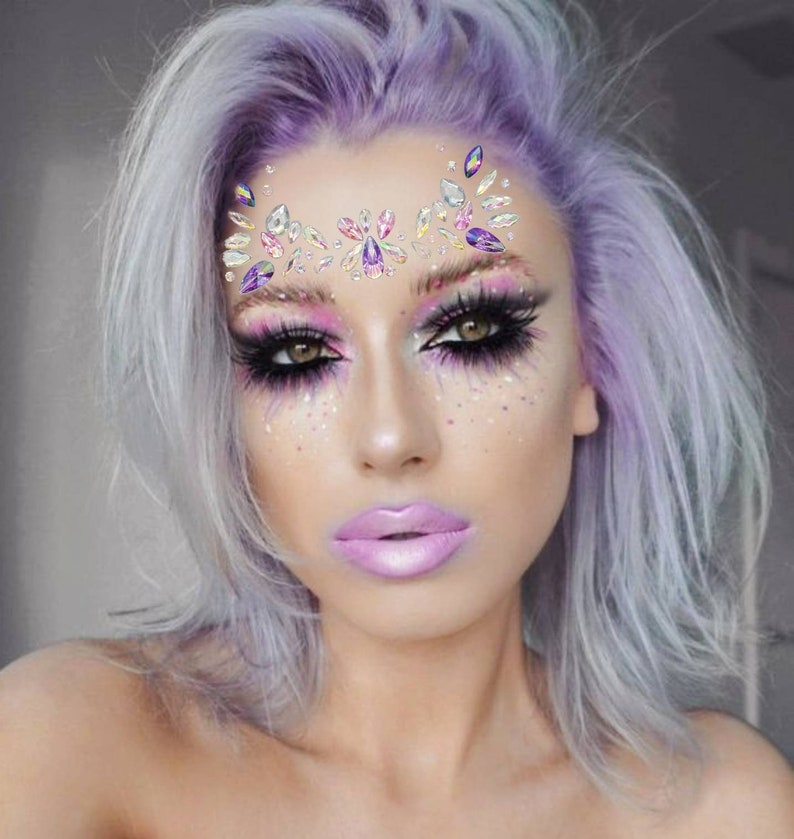 Face Jewels EDC Rave outfits Festival Diamond Face Sticker  e160c394592b