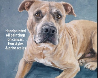 Custom pet portraits, custom dog portrait - oil painting on canvas. 50% DEPOSIT. Handmade Custom pet portrait. Fathers Day Gift.