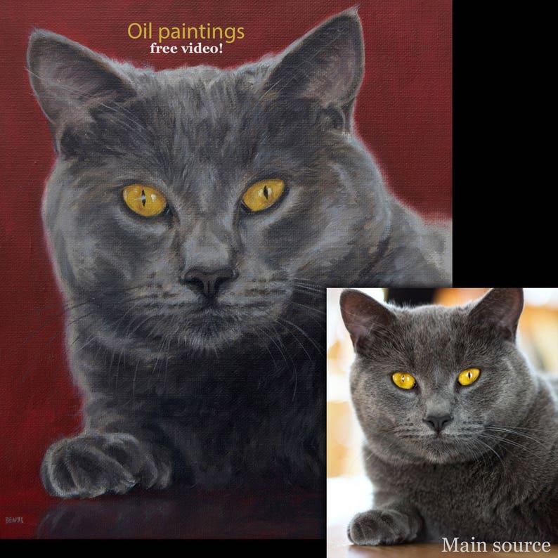 Cat Painting oil painting on canvas 50/% DEPOSIT Cat Portrait TWO CATS. Handmade Custom pet portrait Cat portrait custom