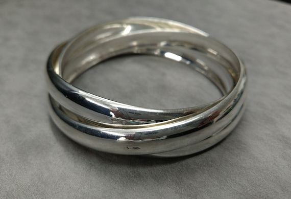 ac431547a8f intertwined half Bangle Bracelet style Cartier silver solid