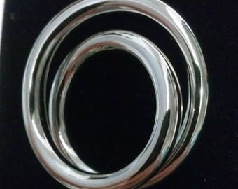 Ring double crossed and rope silver rings, 4mm section
