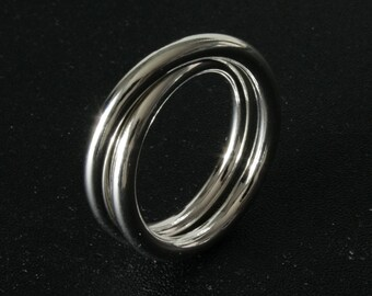 Ring double crossed and rope silver rings section 3mm, 8grs