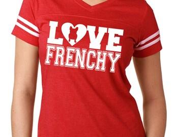 ¡Amor a Bulldog Francés camiseta fútbol Jersey Bully de mujeres Frenchy  para los amantes del Bulldog Francés! Camisa de camisa t bulldog francés  Frenchie 397eca9e14c58