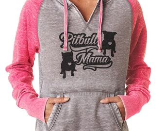Pitbull Mama Women's Zen Fitted Pullover hoodie Pitbull hoodie for ladies sizes sm-2x  Bully Supplies pitbull apparel