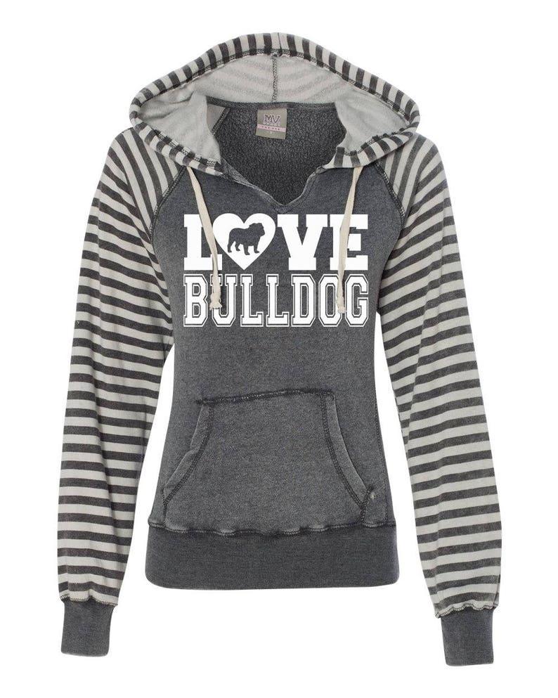 Love Bulldog Striped Sleeve Raglan Hoodie for English Bulldog Lovers bulldog sweatshirt love bulldog bulldog clothing bulldog gift
