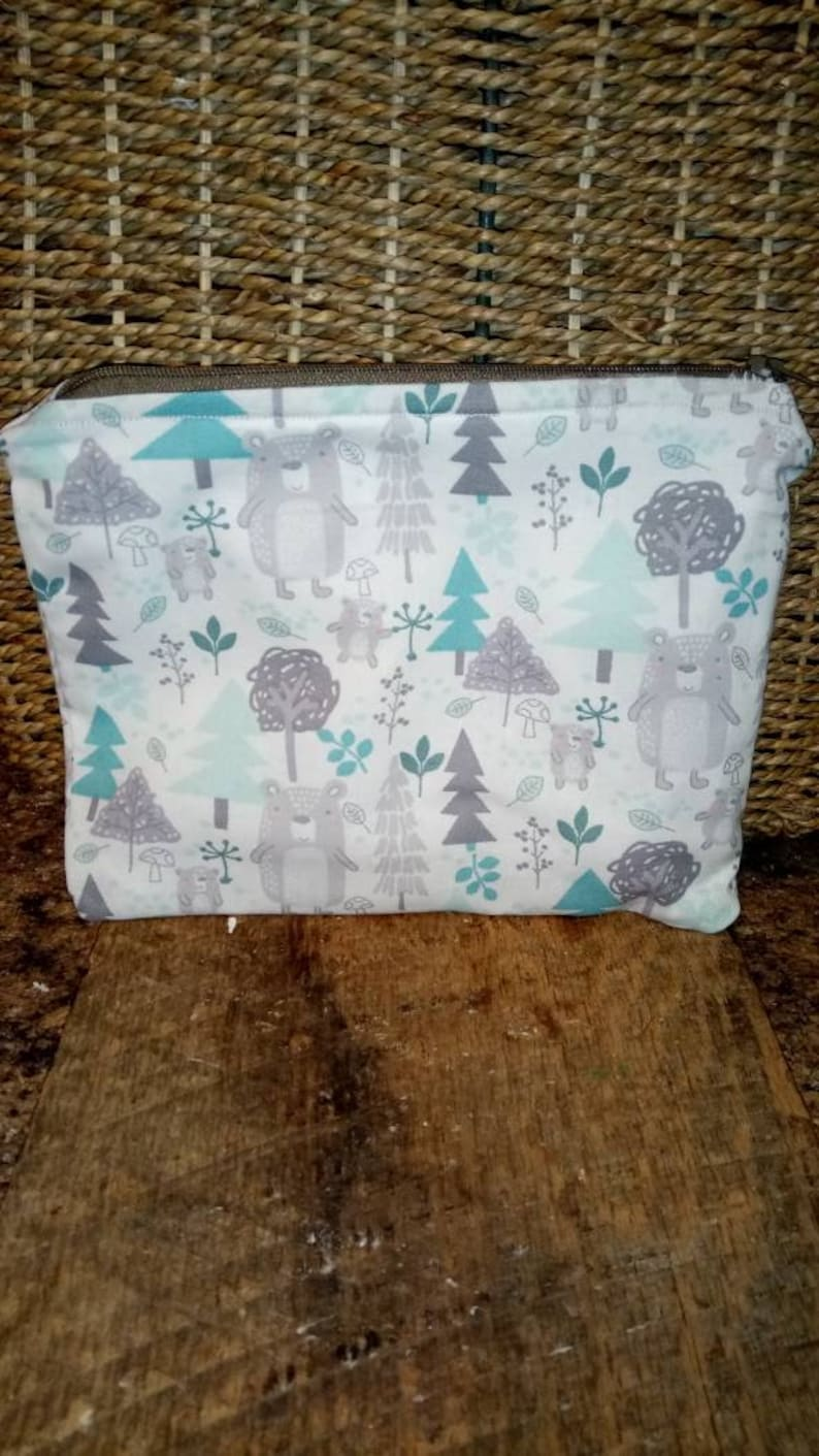 Feather pouch reuseable bagzippered bag makeup bag snack image 0