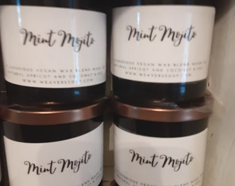 Minto mojito candle, coco apricot wax,vegan,gluten-free,phthalate toxin free,paraben free,renewably sourced, crackling wood wick
