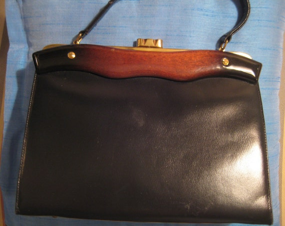 VTG Black Leather Koret Bag with Lucite Trim