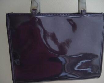 9931f5d8c Neiman Marcus Purple Vinyl Handbag Designer Tote Preowned