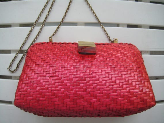 Bold Pink Wicker Shoulder Bag from Nordstroms