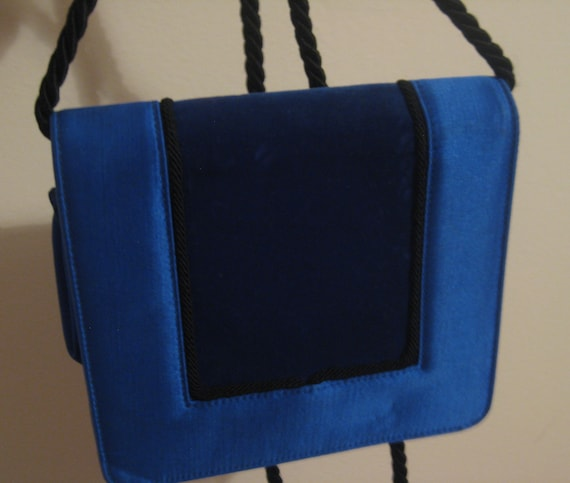 Escada Blue Silk and Velvet Clutch Bag