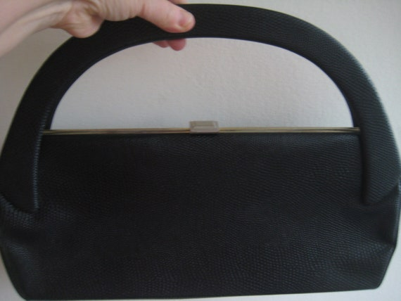 Black Pebbled Leather Handbag