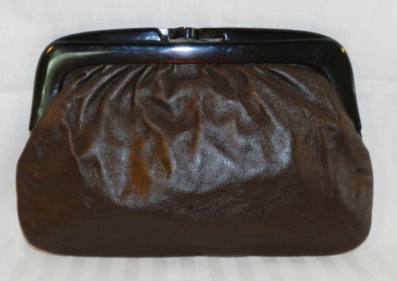 VTG Brown Leather Clutch from Italy