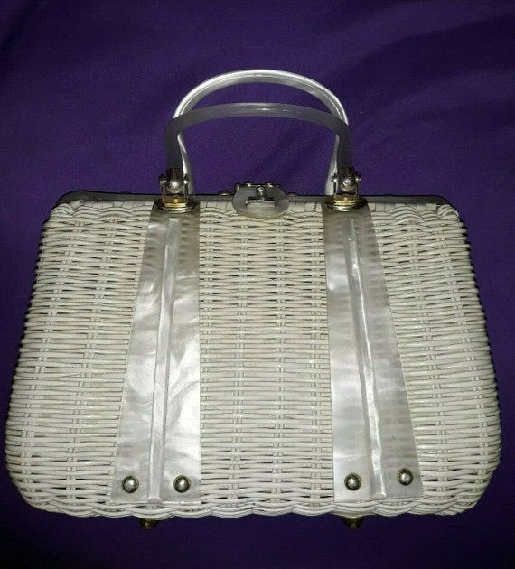 White Wicker Bag with White Lucite Trim