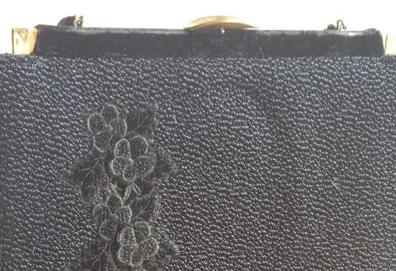 VTG Black Faye Mell Designs Handbag with Velvet Flower Applique