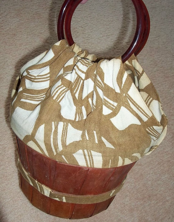 Peach Basket Handbag with Lucite Handle