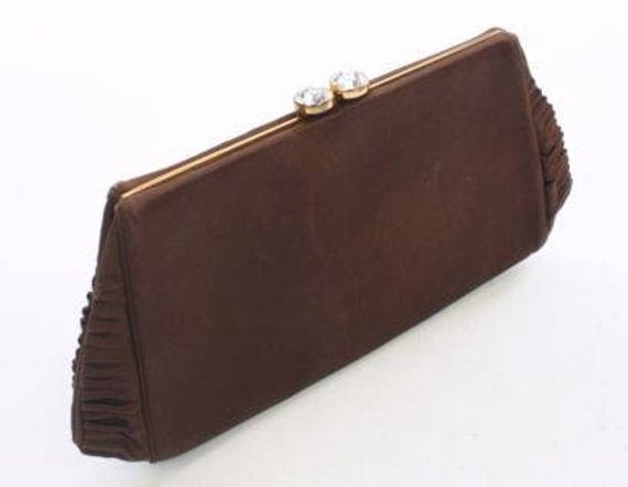 50's Brown Silk Clutch by Nettie Rosenstein