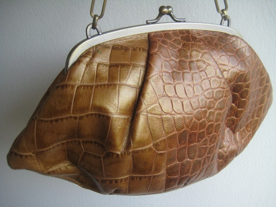 Croc Embossed Baggette by Monsac