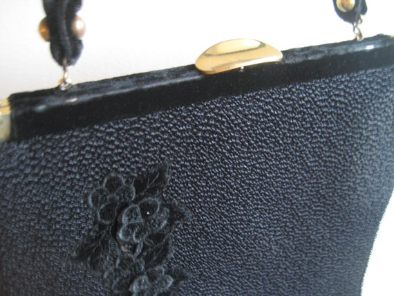 VTG Black Faye Mell Designs Handbag with Velvet Flower Applique