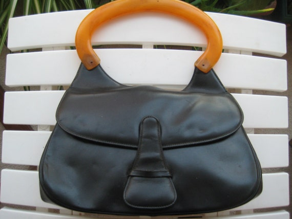 Black Leather & Bakelite Handbag