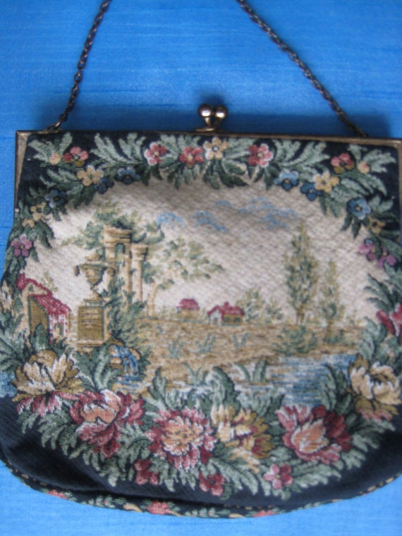 French VTG Walborg Petite Point Handbag.