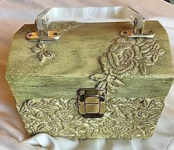 Carved Wooden Box Purse