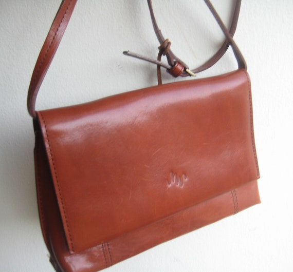 Cognac Leather Satchel by Monsac