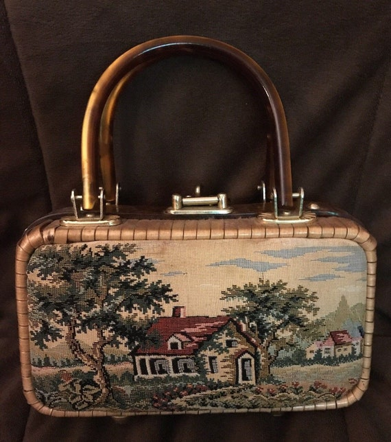 Country Scene Wicker Bag