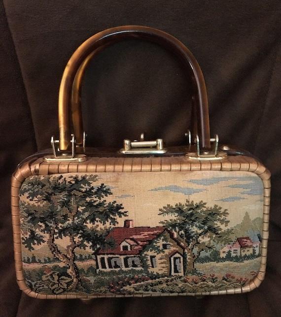 Country Scene Wicker Bag