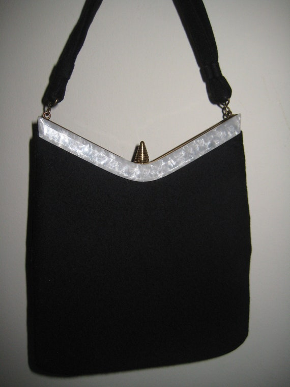 Perfect 40's Felt & Bakelite Bag by Garay