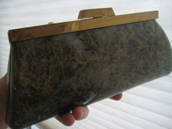 Olive Green and Gold Lucite Clutch