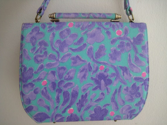 Rare Teal and Purple Print Bag by Stylecraft Miami