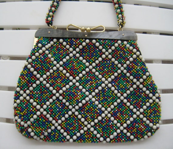 Multi-Colored Beaded Handbag - Cute!