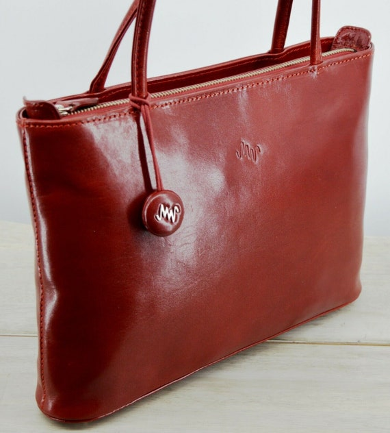 Mint Condition Red Leather Monsac Tote Style Handbag