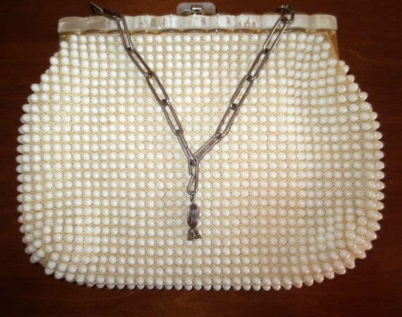 Classic VTG White Lucite Beaded Bag