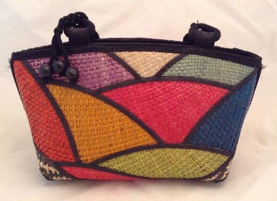 Multicolor Block Print Raffia Bag