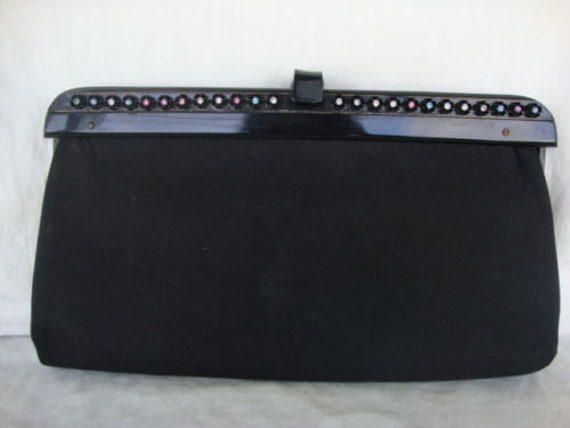 Multi-Colored Rhinstones on Pretty Black Clutch