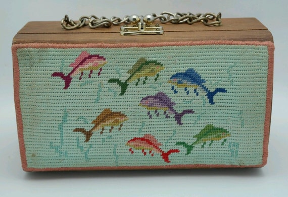Wooden Box Purse with Needlepoint Covers