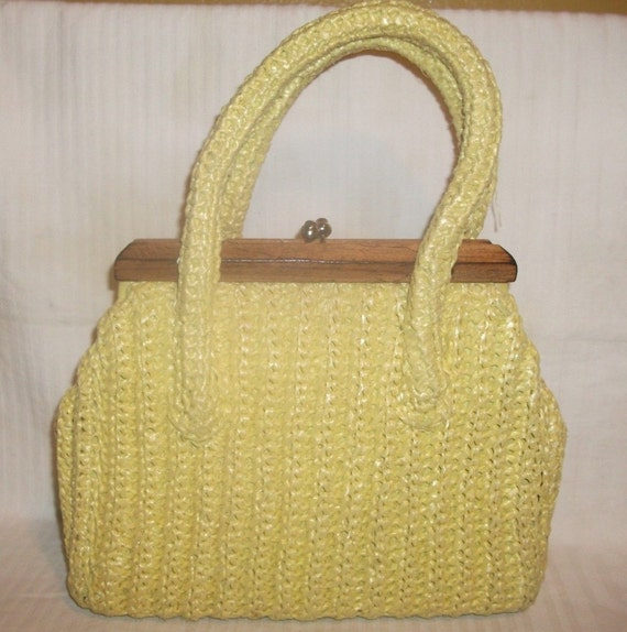 Spring Fresh Vintage Raffia Purse by Simon