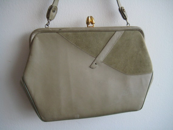 Celery Green Leather and Suede Bag by Stylecraft Miami