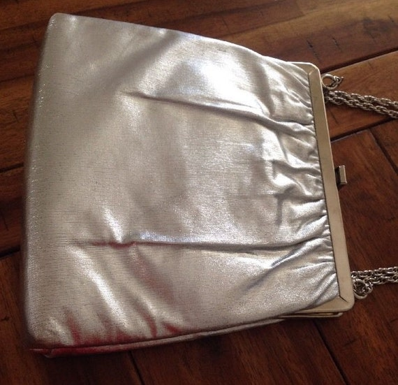 Silver Lame Handbag by Harvey Levine