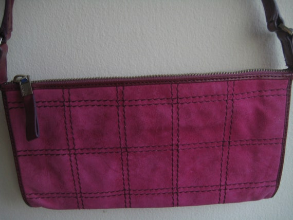 Hot Pink and Suede Baguette by Monsac