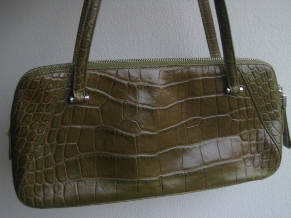Olive Green Leather Satchel Croc Look