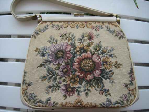 VTG Needlepoint Kelly-style Handbag by J.R.