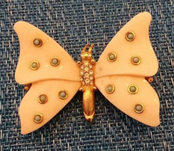 Lucite and Rhinestone Butterfly Pin