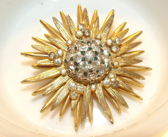 Stunning Starburst Brooch by Nettie Rosenstein.