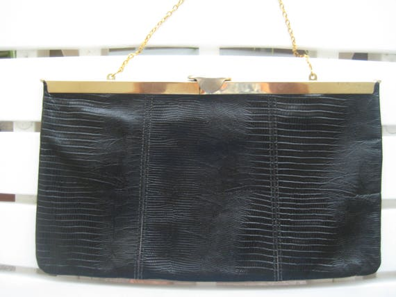 VTG Lizard Look Black Clutch