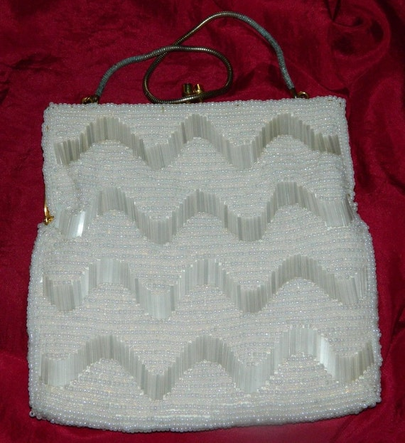 Beaded White Evening Bag  - Stunning!