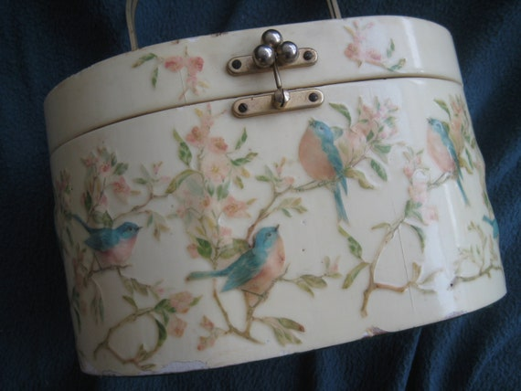 Bird and Flower Decoupage  Box Bag