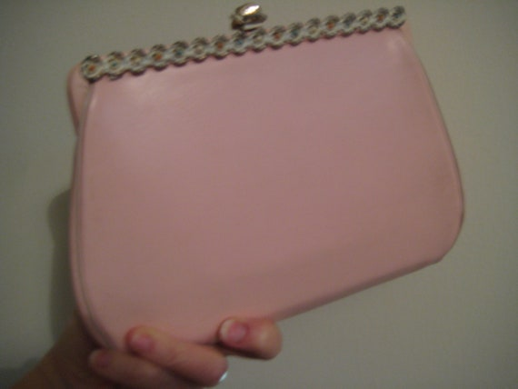VTG Pink Leather Clutch - 60's Classic